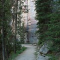 Eventually the trail dips into shady forest and the rock wall appears.- Lake Louise Lakeshore Trail