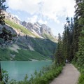 Typical view from the Lakeshore Trail.- Lake Louise Lakeshore Trail