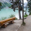 Benches are available along the trail.- Lake Louise Lakeshore Trail