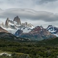 First views of Fitz Roy from a rocky outcropping.- Laguna de los Tres
