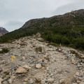 The rough climb begins.- Laguna des los Tres