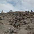 The summit is starting to poke into view.- Laguna des los Tres