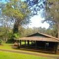 The day use picnic shelter.- Kalōpā State Park and Recreation Area
