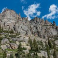 Rocky spires on the right.- Andrews Glacier Trail