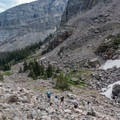 Looking back at the rocky trail.- Andrews Glacier Trail