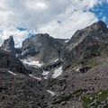 Sharkstooth dominating the view to the left.- Andrews Glacier Trail
