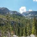 Mountains rising over the trees to the left of the trail.- Andrews Glacier Trail