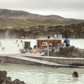 Fountains in the water.- Blue Lagoon