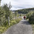 The path leads east to Barnafoss.- Hraunfossar and Barnafoss