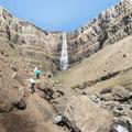 Climbing over rocks to get closer.- Litlanesfoss and Hengifoss