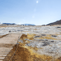 A wooden path through sulfur fields.- Hverir (Hverarond)