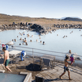 One large lagoon is constructed into separate areas.- Mývatn Nature Baths