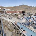 The hot tub and changing rooms.- Mývatn Nature Baths