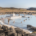 Drinks are delivered to bathers from the walkway.- Mývatn Nature Baths