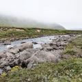 Fog above the water.- Neðri-Stafur and Seyðisfjörður