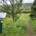 A trail sign at Fjardarsel.- Neðri-Stafur and Seyðisfjörður