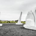 Art sculptures outside the beach area.- Nauthólsvík Geothermal Beach