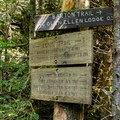 Signage at the intersection of the Long Trail at the lodge spur trail.- Glen Ellen Hut