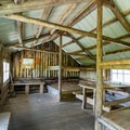 Interior of the rustic lodge.- Glen Ellen Hut