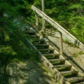 A wooden stair marks the end of the spur trail to the hut.- Glen Ellen Hut