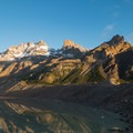 The morning light on the surrounding mountains.- Mirador Maestri + Laguna Torre