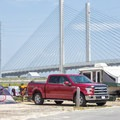 A campsite with a view of the Charles W. Cullen Bridge.- Delaware Seashore State Park Campground