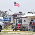 The campground is mostly occupied by RVs.- Delaware Seashore State Park Campground