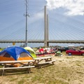 A campsite at the southern inlet.- Delaware Seashore State Park Campground