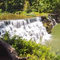 The falls bathed in sunlight.- Waterloo Falls