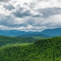 The Great Range from the Belfry Tower.- Belfry Mountain Fire Tower