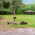 Picnic area and picnic shelter.- Wildwood Campground