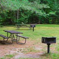 Picnic area is across the highway from the campground.- Wildwood Campground