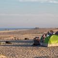 Campsites line the shore at the main beach.- Assateague Island National Seashore