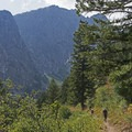 Coming down the switchbacks to enter the canyon.- Death Canyon to Patrol Cabin
