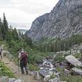 Cascades run alongside the trail.- Death Canyon to Patrol Cabin