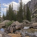 The first of the rocky beaches and brooks.- Death Canyon to Patrol Cabin