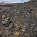 A cairn on the trail to Hverfjall.- Hverfjall