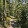 People enjoying the trail on horseback.- Granite Canyon