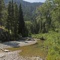 Pebble beaches along the creek shores.- Granite Canyon