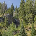 A multi-sided waterfall on the north face.- Granite Canyon