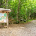 Trails begin beyond this trailhead kiosk.- Pitcher Mountain Fire Tower