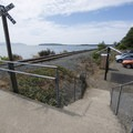 Parking area for Pier's End at the end of Bay Lane.- Pier's End Historic Coast Guard Boathouse