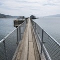 The iconic 700-foot long pier at Pier's End Historic Coast Guard Boathouse.- Pier's End Historic Coast Guard Boathouse