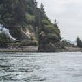 View back east with the Oregon Coast Scenic Railroad.- Tillamook Bay: Garibaldi Marina to The Three Graces