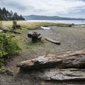 View west to Tillamook Bay at Kilchis Point Preserve.- Kilchis Point Reserve