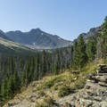Looking up the Aster Creek drainage to Mount Ellsworth.- Aster Park Overlook Hike
