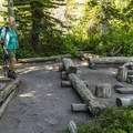 The kitchen area at Upper Two Medicine Lake Campground.- Upper Two Medicine Lake Campground