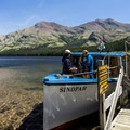 Boarding the Sinopah for the ride back.- Upper Two Medicine Lake Campground