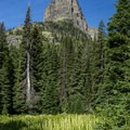 Pumpelly Pillar from the trail to Upper Two Medicine Lake.- Upper Two Medicine Lake Hike