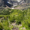 One of many seasonal creeks on the side of Rising Wolf Mountain.- Two Medicine Lake Loop Hike